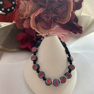 Heart red and black FIMO bead Valentines bracelet
